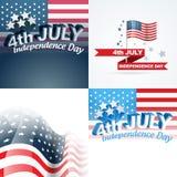 Sistema del vector de fondo abstracto del Día de la Independencia americano libre illustration
