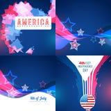 Sistema del vector de fondo abstracto del Día de la Independencia americano stock de ilustración