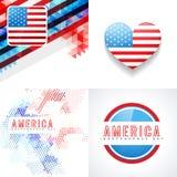 Sistema del vector de fondo americano del Día de la Independencia del 4 de julio libre illustration