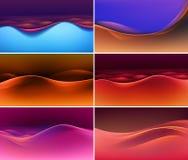 Sistema del vector de fondos multicolores coloridos abstractos de la onda Imagen de archivo
