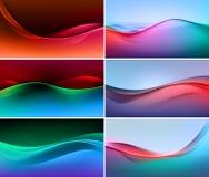 Sistema del vector de fondos multicolores coloridos abstractos de la onda Fotos de archivo
