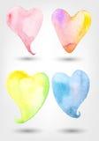 Sistema del vector de formas del corazón de la acuarela Imágenes de archivo libres de regalías