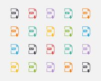 Sistema del vector de formatos de archivo y de etiquetas del documento Fotos de archivo