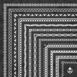 Sistema del vector de fronteras y de bastidores de la esquina decorativos en un fondo de la pizarra Imagenes de archivo