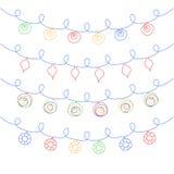 Sistema del vector de guirnaldas de la Navidad ilustración del vector
