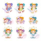 Sistema del vector de hadas divertidas de las muchachas Muchachas de hadas Imágenes de archivo libres de regalías