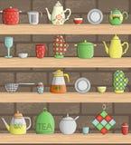 Sistema del vector de herramientas coloreadas de la cocina en estantes con el fondo del ladrillo stock de ilustración