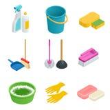 Sistema del vector de herramientas de la limpieza Limpio casero, esponja, escoba, cubo, fregona, escobilla Concepto gráfico para  Imagen de archivo