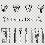 Sistema del vector de herramientas y de dientes dentales planos con las caries, los apoyos y un implante Objetos aislados en fond libre illustration