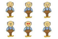Sistema del vector de hombres con diversas emociones, Foto de archivo