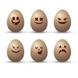 Sistema del vector de huevos lindos y divertidos con diversas emociones, dedicado al día feliz de Pascua Colección con las caras  libre illustration