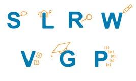 Sistema del vector de iconos de aprender inglés libre illustration