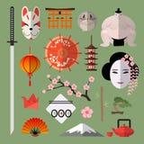 Sistema del vector de iconos con los elementos japoneses Imagen de archivo