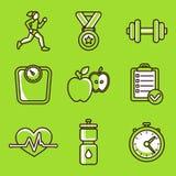 Sistema del vector de iconos de la aptitud Imagen de archivo libre de regalías