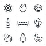 Sistema del vector de iconos de la blanco Tiro al arco, Apple, placa para el tiroteo del banco, botella, Biathlon, globos, ardill Imagen de archivo libre de regalías