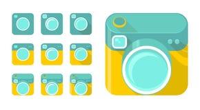 Sistema del vector de iconos de la cámara Fotografía de archivo libre de regalías