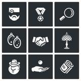 Sistema del vector de iconos de la casa de empeños ilustración del vector