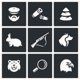 Sistema del vector de iconos de la caza Cazador, munición, madera, animal, brazos, perro, depredador, búsqueda, pájaro ilustración del vector