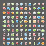 Sistema del vector de 100 iconos de la etiqueta engomada stock de ilustración
