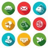 Sistema del vector de iconos de la oficina de correos Cartero, letra, entrega, transporte, International, enviando, dirección, pa stock de ilustración