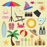 Sistema del vector de iconos de la playa Fotos de archivo