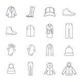 Sistema del vector de iconos de la prendas de vestir exteriores Imagen de archivo libre de regalías
