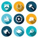 Sistema del vector de iconos de la vida de Viking Bárbaro, Laurel Wreath, martillo, nave, escudo, oro, hacha, sangre, carne ilustración del vector