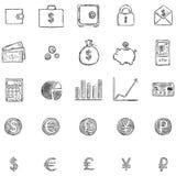 Sistema del vector de iconos de las finanzas del bosquejo Imagenes de archivo