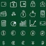 Sistema del vector de iconos de las finanzas del garabato de la tiza Imágenes de archivo libres de regalías