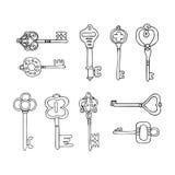 Sistema del vector de iconos de las llaves Llaves modernas y antiguas Tipos de llaves ilustración del vector