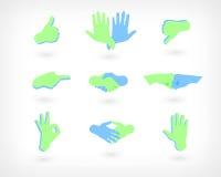 Sistema del vector de iconos de las manos: Como, aversión, apretón de manos, gesto aceptable y otro Botones del Web Fotografía de archivo