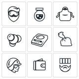 Sistema del vector de iconos de los laboratorios del traficante Laboratorio, metanfetamina, fabricación, síntesis, dosificación,  Fotografía de archivo