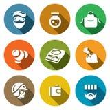 Sistema del vector de iconos de los laboratorios del traficante Laboratorio, metanfetamina, fabricación, síntesis, dosificación,  Fotografía de archivo libre de regalías