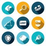 Sistema del vector de iconos de los perros perdidos Fotos de archivo