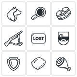 Sistema del vector de iconos de los perros perdidos Chucho, búsqueda, captura Tiroteo, pérdida, veterinario, protección del parqu Imagenes de archivo