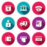 Sistema del vector de iconos de los servicios bancarios Bolso del dinero, edificio de banco, CCTV, banquero, coche del colector,  libre illustration