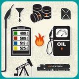 Sistema del vector de iconos del aceite Foto de archivo libre de regalías