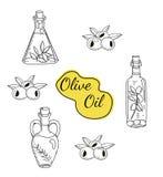 Sistema del vector de iconos del aceite de oliva Foto de archivo libre de regalías