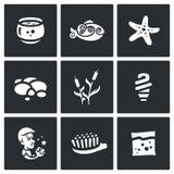 Sistema del vector de iconos del acuario libre illustration