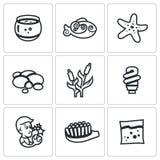Sistema del vector de iconos del acuario Capacidad, pescado, estrellas de mar, guijarro, caña, luz, deseo, cepillo, alimentación stock de ilustración