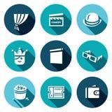 Sistema del vector de iconos del cine de la comedia Cortina, chapaleta de la película, jugador de bolos, bufón, pantalla, 3D vidr Fotos de archivo libres de regalías