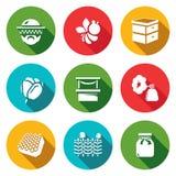 Sistema del vector de iconos del colmenar Apicultor, abeja, colmena, flor, comercio, humo, miel, cerca, tarro stock de ilustración
