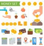 Sistema del vector de iconos del dinero y de las finanzas en plano Foto de archivo libre de regalías
