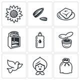 Sistema del vector de iconos del girasol stock de ilustración