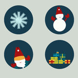 Sistema del vector de iconos del invierno en estilo plano Foto de archivo