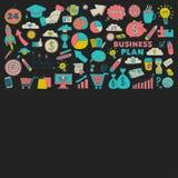 Sistema del vector de iconos del negocio del garabato Foto de archivo