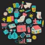 Sistema del vector de iconos del negocio del garabato Fotografía de archivo libre de regalías