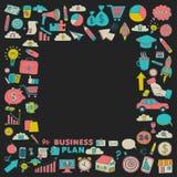 Sistema del vector de iconos del negocio del garabato Imagen de archivo