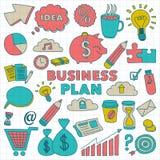 Sistema del vector de iconos del negocio del garabato Imagen de archivo libre de regalías