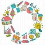 Sistema del vector de iconos del negocio del garabato Foto de archivo libre de regalías
